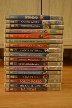 Hayao Miyazaki: Ponyo, Ocean Waves, Tales from Earthsea, Only Yesterday, Spirited Away, My Neighbors the Yamakaras, Whisper of the Heart, Grave of the Fireflies, My Neighbor Totoro, Princess Mononoke, Howl's Moving Castle, Laputa: Castle in the Sky, Kiki's Delvery Service, Pom Poko, Porcos Rosso, The Cat Returns, and Nausicaa of the Valley of the Wind