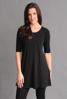 Eileen Fisher Scoop Neck Long Tunic in Stretch Silk Jersey (darling with capri leggings and ballet flats)