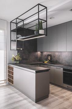 estanterias colgantes para cocinas Modern Kitchen Interiors, Luxury Kitchen Design, Kitchen Room Design, Home Room Design, Kitchen Cabinet Design, Home Decor Kitchen, Interior Design Kitchen, Home Kitchens, Loft Kitchen