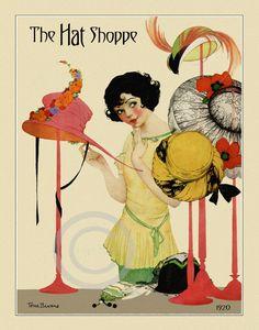Delightful Hat Shop Girl Print Shopping for by DragonflyMeadowsArt