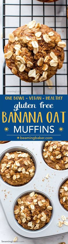 Gluten Free Banana Oat Muffins (V GF): a one bowl recipe for warm, moist and lightly sweet Banana Oat Muffins made with simple ingredients. BEAMINGBAKER.COM #Vegan #GlutenFree