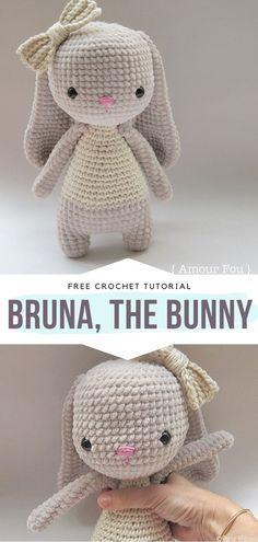 Crochet Easter, Easter Crochet Patterns, Crochet Baby Toys, Crochet Amigurumi Free Patterns, Crochet Teddy, Knitting Dolls Free Patterns, Free Knitting, Crochet Rabbit Free Pattern, Crochet Bow Pattern