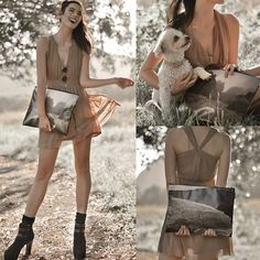 Twisted Back Neutral Dress, Snupped Custom Printed Laptop Spacesuit, Small Round Shades, My Dog  Bear