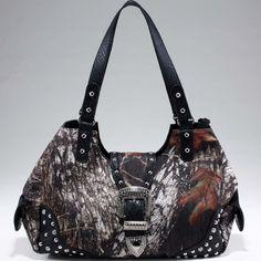 Studded Camouflage Shoulder Bag w/ Rhinestone Buckle - Black