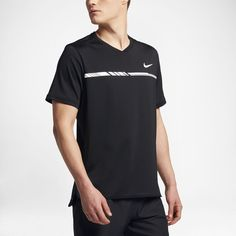 Nike NikeCourt Dry Challenger Men's Short Sleeve Tennis Top Size 2XL (Black) - Clearance Sale