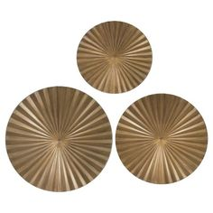 Gold Metal Radial Wall Décor - Set of 3 at Target Iron Wall Decor, Map Wall Decor, Medallion Wall Decor, Antique Brass Faucet, Bathroom Accent Wall, Metal Wings, Starburst Mirror, Welcome To My House, Wall Sculptures