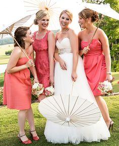 Orange, Mismatched Bridesmaid Dresses // Photo: Vue Photography // Feature: Theknot.com