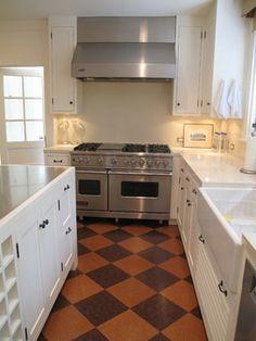 white cabinets + tile floor