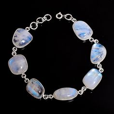 925 Sterling Silver Jewelry Christmas Special Rainbow Moonstone unshape Bracelet #Handmade #WhiteChristmasSpecialBracelet #Christmas