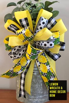 Lemon Wreath and Home Decor Bow, Buffalo Check Summer Decor