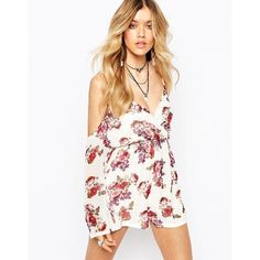 Missguided Floral Off The Shoulder Wrap Romper ($60) ❤ liked on Polyvore