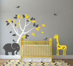 Nursery Wall Decal with Tree, Elephant, Giraffe and Birds