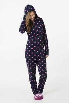 Navy fleece onesie with hearts - Halloween | Ardene Official Online Store