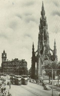 Old Edinburgh - Scott Monument / Princes Street / Balmoral Hotel 1952