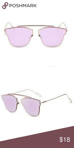 Metal Frame Flat Mirror Sunglasses Pink HIGH quality materials, pink metal rim / frame and pink lens.  Lens Protection  All of the Sunglasses we offer will protect your eyes from harmful UV Rays. All of our Sunglasses feature UV400 Lens Technology, absorbing over 99% of harmful UVA and UVB rays. Accessories Sunglasses