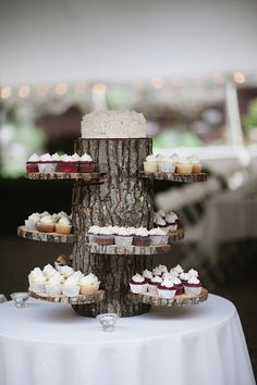 woodland wedding dessert display, photo by Richard Israel | via http://junebugweddings.com