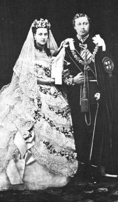 """Husband Edward VII """"Bertie"""" (Albert Edward) (1841-1910) Prince of Wales, UK on his wedding day in 1863 to Princess Alexandra """"Alix"""" (1844-1925) Denmark. Bertie was the 2nd child Queen Victoria (1819-1901) UK & 1st cousin Prince Albert (1819-1861) Saxe-Coburg & Gotha, Germany. Alix was 2nd child of King Christian IX (1818-1906) Denmark & his 2nd cousin Queen Louise (1817–1898) Hesse-Kassel, Germany."""