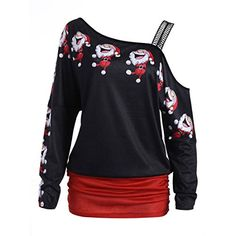 b09b8d3cbc2430 The perfect Inkach Womens Off Shoulder Shirt Ugly Christmas Printed Long  Sleeve Blouse Shirt Tops (