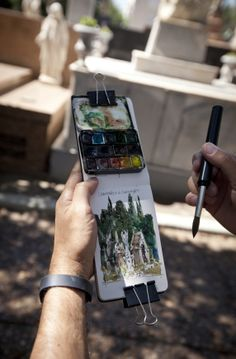 Working with a Limited Color Palette at the 2014 Urban Sketchers Brazil Workshop - Watercolor obsessions - Art Travel Sketchbook, Arte Sketchbook, Urban Sketchers, Art Sketches, Art Drawings, Art Du Croquis, Art Watercolor, Watercolor Journal, Illustration Art