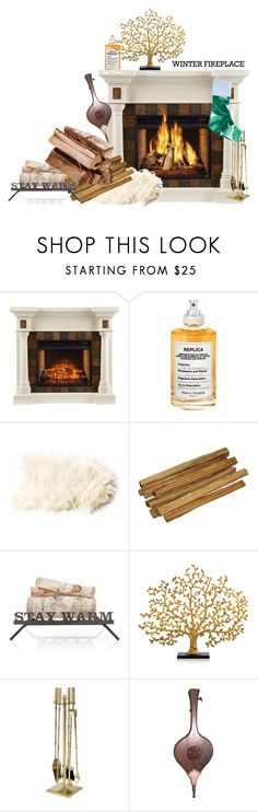 """Fireplace"" by heidibartholdy on Polyvore featuring interior, interiors, interior design, home, home decor, interior decorating, Maison Margiela, Mark & Graham, Michael Aram and Ballard Designs"