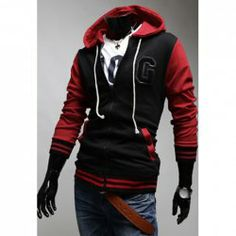 $14.90 Fashionable Hooded Color Block Embroidery Letter Long Sleeves Polyester Hoodies For Men