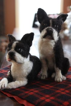 Needle Felted Boston Terriers