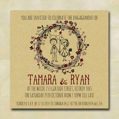 Rustic Engagement Invitation, wedding stationary, DIY printable file by CreativeWonderAu on Etsy https://www.etsy.com/listing/232948109/rustic-engagement-invitation-wedding