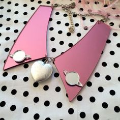 Mirror Pink and Silver Heart Acrylic Collar by imyourpresent, $21.00