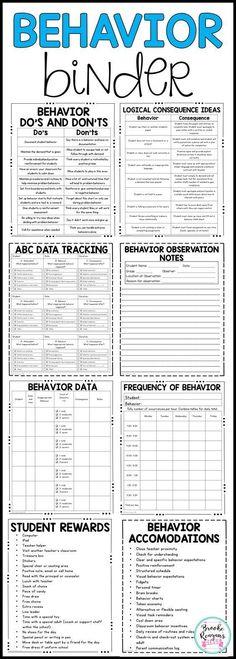Behavior binder for ABC data collection, behavior data tracking and many helpful behavior resources for teachers. Behavior Tracking, Classroom Behavior Management, Behavior Plans, Student Behavior, Behaviour Management, Data Tracking, Behavior Charts, Behavior Analyst, Child Behavior