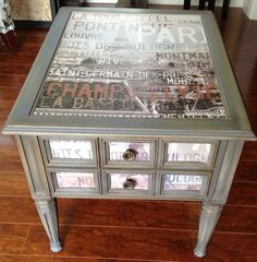 $25 Goodwill Table, upcycled with chalk paint and decoupage — by Snazzy Little Things