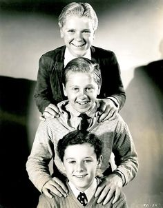 Publicity shot of juvenile actors Jackie Cooper, Mickey Rooney and Freddie Bartholomew