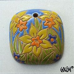 Daffodils, Daffodil Pendant, Square Daffodil Pendant, Yellow, Orange And Blue Daffodil Pendant, Golem Design Studio Beads by JasmineTeaDesigns on Etsy