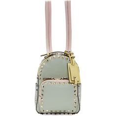 Valentino Green Watercolor Mini Rockstud Backpack (2,590 BAM) ❤ liked on Polyvore featuring bags, backpacks, valentino backpack, mini leather backpack, green leather backpack, miniature backpack and genuine leather backpack