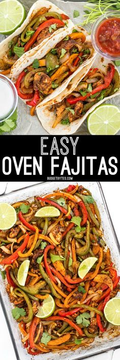"""These Easy Oven Fajitas are a simple """"set it and forget it"""" way to get that smoky sweet flavor of traditional griddle fajitas. @budgetbytes"""