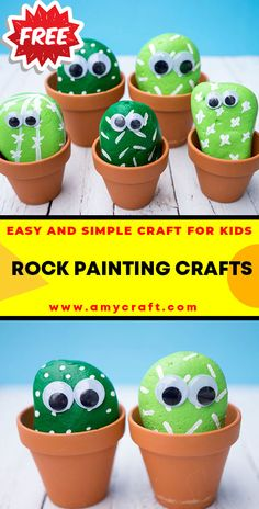 Pet Cactus Rocks - Easy Popsicle Crafts for Kids. Click to Find the Tutorial Here! #DIY #Popsicle #Craft Creative Arts And Crafts, Easy Crafts For Kids, Creative Kids, Popsicle Crafts, Rock Painting Ideas Easy, Kid Rock, Garden Projects, Elementary Schools, Painted Rocks