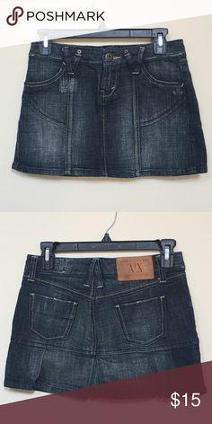 A/X Armani Exchange denim mini skirt Perfect condition! Size 0. Super cute pleats in back. Machine wash. 99% cotton, 1% spandex. A/X Armani Exchange Skirts Mini