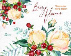 Berry smaak. Aquarel boeketten en krans, handgeschilderde clipart, bloemen, rozen, Kerstmis, winter, wenskaart, diy, Nieuwjaar, bloemen