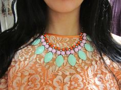 Devin Necklace. Colorful Mint Orange Blush Pink Statement Bib Fan Necklace by OhWhyDontYou, $14.99