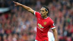 Radamel Falcao of Manchester United gestures during the Barclays Premier League match between Manchester United and Queens Park Rangers at Old Trafford on September 2014 in Manchester, England. Manchester United 2014, Manchester England, Queens Park Rangers, Van Persie, Bernabeu, Barclay Premier League, English Premier League, Premier League Matches, Old Trafford