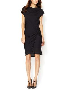 This too See by Cloe: Crepe Boatneck Ruched Dress