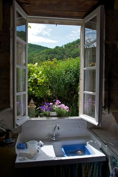 Kitchen sink with a view ...