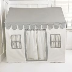 DomesticObjectsPlayhouseGrey41 Modern Playhouse, Indoor Playhouse, Vancouver, Pvc Connectors, Canopy Tent, White Curtains, Simple Bags, Play Houses, Grey And White