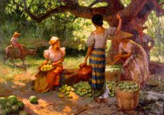 """This Filipino painting entitled """"Fruit Pickers Harvesting Under The Mango Tree"""" was painted in 1939 by the famous Filipino painter and National Artist Fernando Amorsolo. Known for his chiaroscuro. Arte Filipino, Filipino Culture, Munier, Philippine Art, Puzzle Of The Day, Mango Tree, Chiaroscuro, Paintings For Sale, Impressionism"""