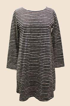 Marimekko Ellis Tunic Dress White/Black Bell Sleeves, Bell Sleeve Top, Marimekko, White Dress, Tunic, Casual, Sew, Clothes, Black