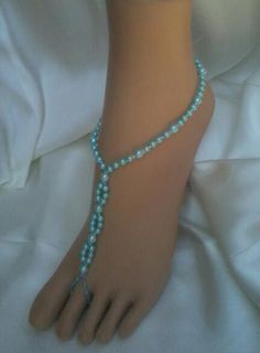 Aqua Blue Beach Barefoot Sandals, Foot Jewelry, Beach Bride, Wedding Sandals. **FREE SHIPPING** Barefoot Sandals made in ALL Colors!