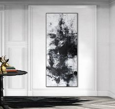 Large Abstract black white giclee print on canvas from