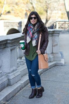Booties with rolled jeans, leather jacket, and scarf