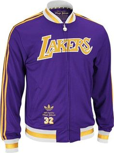 NBA Men's Los Angeles Lakers Magic Johnson Originals Legendary Retired Player Jacket (Purple, X-Large) Sport The Jacket Of Your Legendary Hero In This Authentic Adidas Orginals Retired Player Jacket.  The Gold Metallic Embroidered Adidas Logo & Embroidered Palyer Number At The Right Hem Give It That Extra Special Touch.
