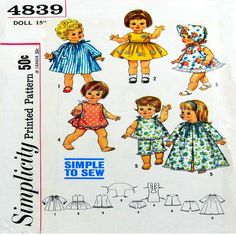 Baby Doll Clothes, Doll Clothes Patterns, Sewing Clothes, Clothing Patterns, Doll Patterns, Simplicity Sewing Patterns, Baby Patterns, Vintage Sewing Patterns, Toddler Dolls