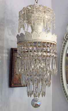 Shabby Vintage Chandeliers | Shabby Chippy Antique Wedding Cake Chandelier with Extra Icing on Top